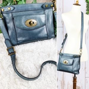 Fossil Bags Navy Vintaged Leather Crossbody Purse